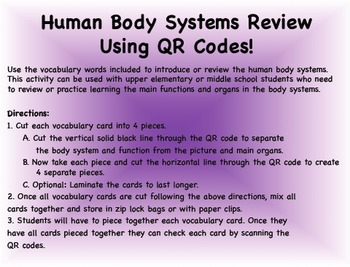 Human Body Systems with QR Codes