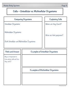 Human Body Sytems Student Note Taking Booklet for Essential Standards