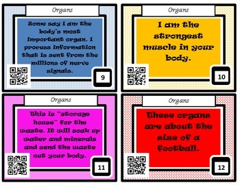 Human Body Task Cards with QR Codes