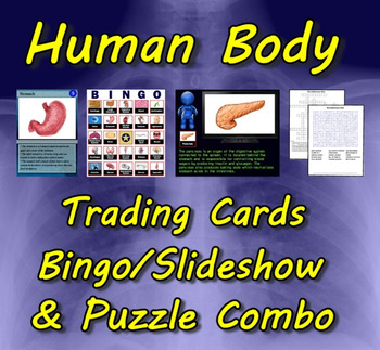 Human Body Trading Cards, Bingo/Slideshow and Puzzle Combo