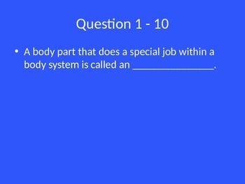 Human Body Unit Jeopardy