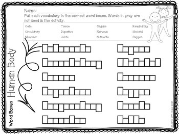 Human Body Vocabulary Cards and Word Work Activities