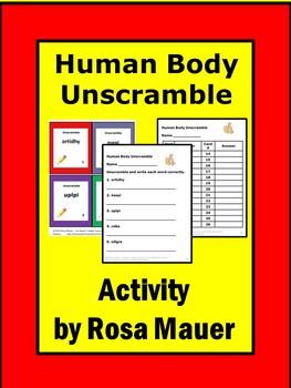 Human Body Vocabulary Unscramble