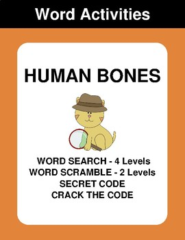Human Bones - Word Search Puzzle, Word Scramble,  Crack the Code