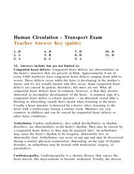 Human Circulation - Transport Exam