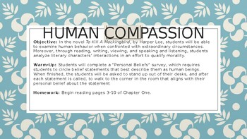 Human Compassion Unit/To Kill A Mockingbird Unit Lesson