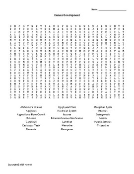 Human Development Vocabulary Word Search for Physiology Students