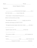 Human Digestion Notes Outline Lesson Plan