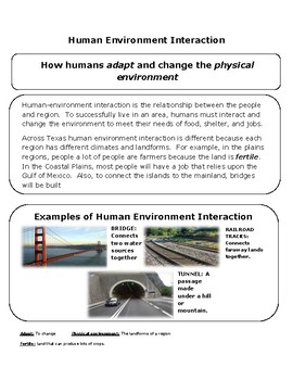 Human Environment Interaction Reading