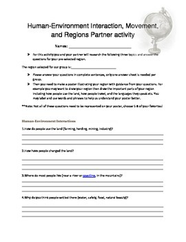 Human- Environment and Movement Region Geography activity