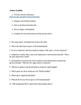 Human Evolution PBS Webquest Worksheet