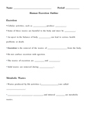 Human Excretion Notes Outline Lesson Plan