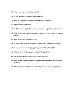 Human Geography of Africa Study Guide