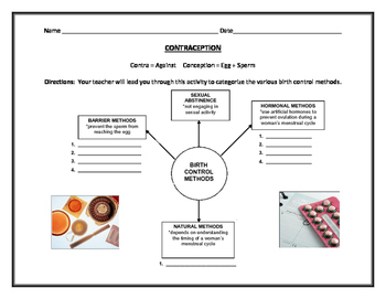 Human Growth and Development: Contraception Graphic Organizer by ...