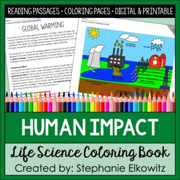 Human Impact Coloring and Reading Unit
