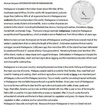 Human Impact Deforesation: Madagascar Informational text & hyperlinks, worksheet