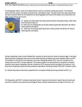 Human Impact Living Environment Regents Review