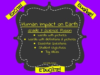 Human Impact on Earth-Vocabulary Cards-Science Fusion-Word Wall-Unit 4