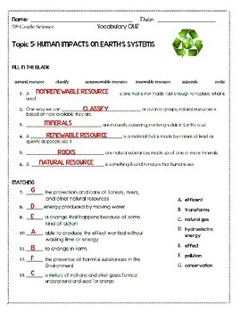 HUMAN IMPACTS ON EARTH'S SYSTEMS Topic 5 5th Grade Study Set