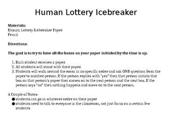 Human Lottery Icebreaker