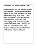 Human Number Line Activity Cards