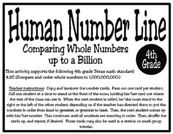 Human Number Line: Comparing and Ordering Numbers to 1,000,000,000 (4.2C)