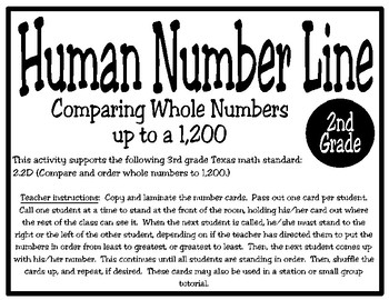 Human Number Line: Comparing and Ordering Numbers to 1,200 (TEKS 2.2D)