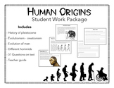 Human Origins and Evolution.  Reading, Comprehension Q's a