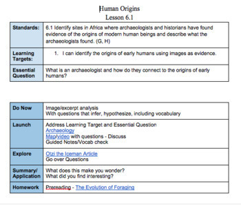 Human Origins 6.1 Full Lesson