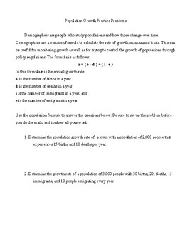 Population Growth Practice Problem Set