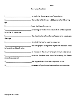 Human Population Vocabulary Quiz or Worksheet for Environmental Science