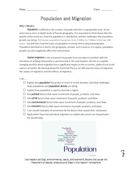 Human Population and Migration Packet