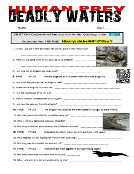 Human Prey - Deadly Waters (free online animal video - question worksheet)
