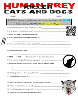 Human Prey - Killer Cats and Dogs (free online video / question sheet)