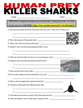 Human Prey - Killer Sharks (free online animal video - question worksheet)