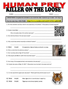 Human Prey : Killer on the Loose (free animal video / question sheet)