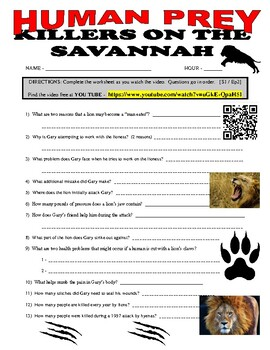 Human Prey : Killers on the African Savannah (free video / question sheet)