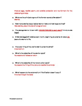 Human Reproduction Notes/ Worksheet