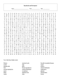 Human Reproduction and Development Word Search Puzzle with key
