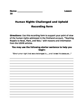 Human Rights Challenged and Upheld Recording Form Lesson 10 EngageNY