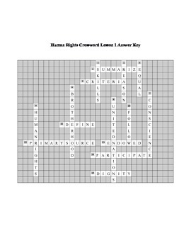 Human Rights Crossword Puzzle Lesson 1