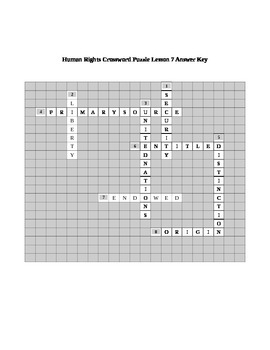 Human Rights Crossword Puzzle Lesson 7
