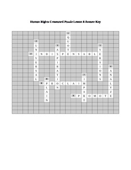 Human Rights Crossword Puzzle Lesson 8