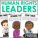 Human Rights Leaders Biography Color Posters, Bulletin Board Classroom Decor