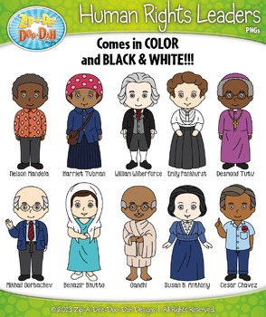 Human Rights Leaders Characters Clipart Set — Includes 20 Graphics!