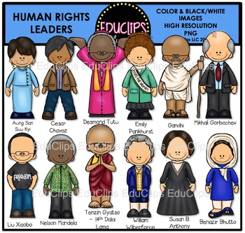Human Rights Leaders Clip Art Bundle {Educlips Clipart}