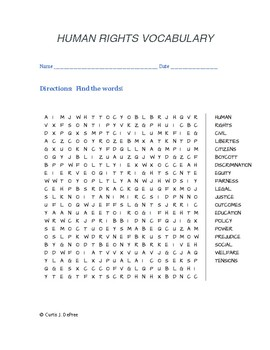 Human Rights Vocabulary WORD SEARCH