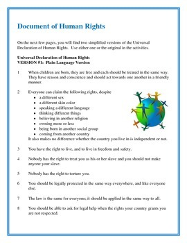 Human Rights and the Rights of Children - Handouts and Activities