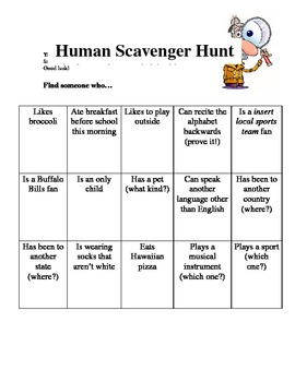 human scavenger hunt iceb by monica beback teachers pay teachers. Black Bedroom Furniture Sets. Home Design Ideas