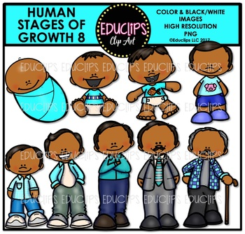 Human Stages Of Growth 8 - Hispanic Male {Educlips Clipart}